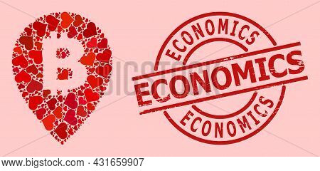 Rubber Economics Badge, And Red Love Heart Mosaic For Bitcoin Map Pointer. Red Round Badge Contains