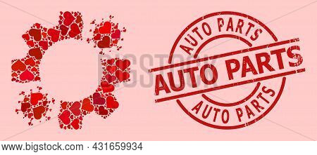 Rubber Auto Parts Stamp Seal, And Red Love Heart Mosaic For Virus Mechanics. Red Round Stamp Seal In