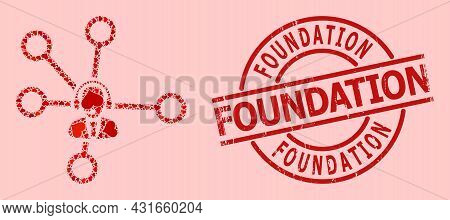 Textured Foundation Stamp Seal, And Red Love Heart Collage For Call Center Links. Red Round Stamp Se