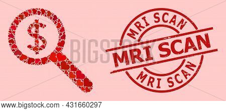 Textured Mri Scan Stamp Seal, And Red Love Heart Mosaic For Financial Audit. Red Round Stamp Seal In