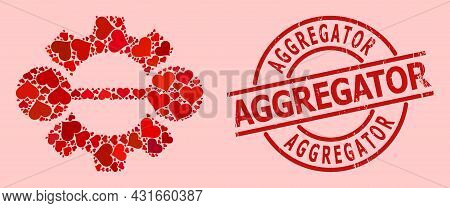 Grunge Aggregator Stamp, And Red Love Heart Mosaic For Integration Gear. Red Round Stamp Includes Ag