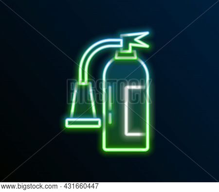 Glowing Neon Line Fire Extinguisher Icon Isolated On Black Background. Colorful Outline Concept. Vec