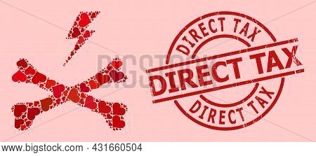 Rubber Direct Tax Stamp Seal, And Red Love Heart Collage For Electrical Hazard. Red Round Stamp Seal