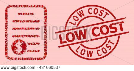 Grunge Low Cost Stamp, And Red Love Heart Collage For Price List. Red Round Stamp Contains Low Cost