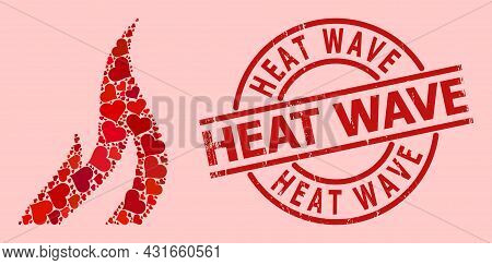 Rubber Heat Wave Stamp Seal, And Red Love Heart Collage For Fire. Red Round Stamp Seal Includes Heat