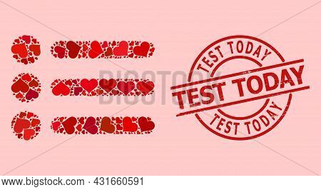 Distress Test Today Stamp Seal, And Red Love Heart Mosaic For List Items. Red Round Stamp Seal Inclu
