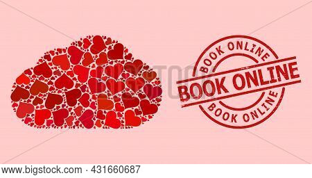 Textured Book Online Seal, And Red Love Heart Collage For Cloud. Red Round Stamp Seal Has Book Onlin