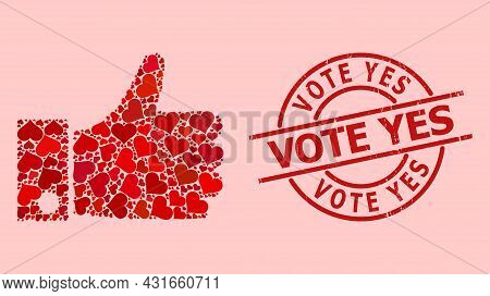 Distress Vote Yes Stamp Seal, And Red Love Heart Mosaic For Thumb Up. Red Round Stamp Includes Vote