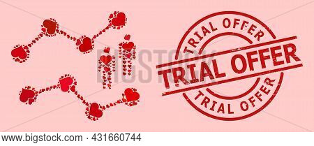 Distress Trial Offer Stamp, And Red Love Heart Collage For Audience Charts. Red Round Stamp Seal Con