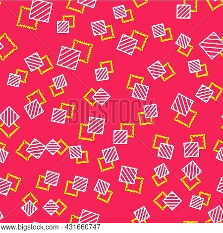 Line Textile Fabric Roll Icon Isolated Seamless Pattern On Red Background. Roll, Mat, Rug, Cloth, Ca