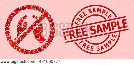 Textured Free Sample Seal, And Red Love Heart Collage For Forbid Praying Hands. Red Round Seal Conta