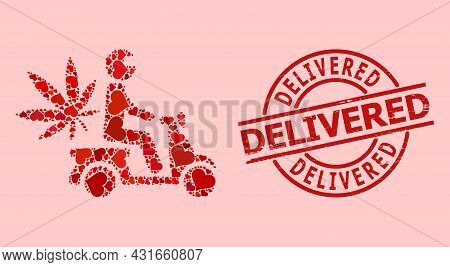 Rubber Delivered Stamp Seal, And Red Love Heart Pattern For Marijuana Motorbike Delivery. Red Round