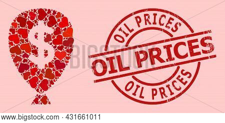 Rubber Oil Prices Stamp Seal, And Red Love Heart Pattern For Financial Inflation Balloon. Red Round