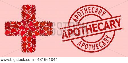 Rubber Apothecary Badge, And Red Love Heart Mosaic For Green Cross. Red Round Badge Has Apothecary T
