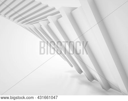 Abstract Parametric Spiral Structure, White Triangular Helix Object Over White Background, 3d Render