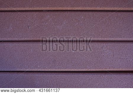 Old Red Wood Planks With Frost Texture For Design. Boards Covered With Frost