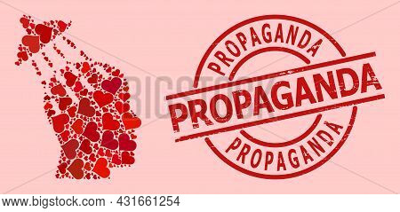 Rubber Propaganda Stamp Seal, And Red Love Heart Mosaic For Brainwashing. Red Round Stamp Seal Conta