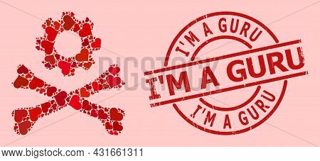 Distress Im A Guru Stamp, And Red Love Heart Collage For Death Mechanics. Red Round Stamp Seal Conta