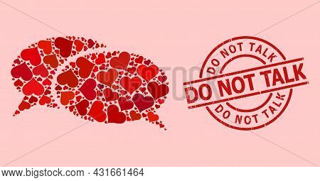 Distress Do Not Talk Stamp, And Red Love Heart Mosaic For Chat. Red Round Stamp Seal Has Do Not Talk