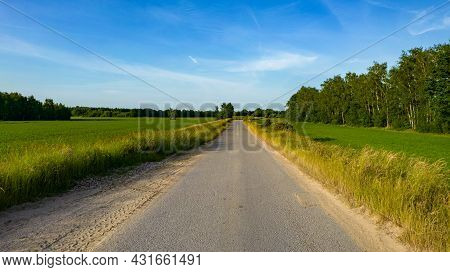 Aerial View Of Road In Beautiful Green Forest At Sunset In Spring. Colorful Landscape With Car On Th