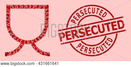 Grunge Persecuted Stamp Seal, And Red Love Heart Pattern For Mug. Red Round Stamp Seal Contains Pers