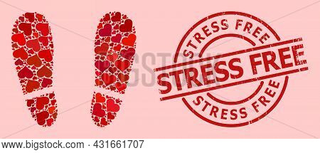 Scratched Stress Free Stamp Seal, And Red Love Heart Collage For Human Footprints. Red Round Stamp S