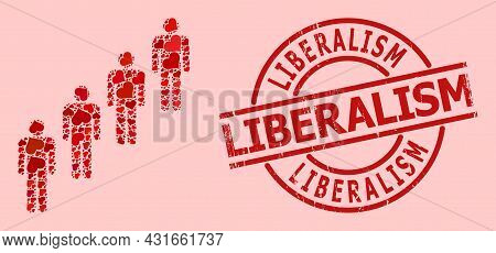 Distress Liberalism Badge, And Red Love Heart Mosaic For People Queue. Red Round Badge Has Liberalis