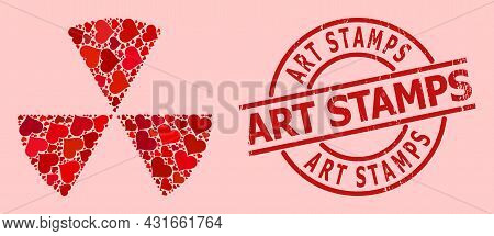Grunge Art Stamps Stamp Seal, And Red Love Heart Mosaic For Circle Sectors. Red Round Seal Includes