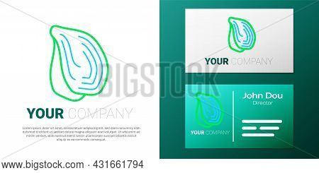 Line Mussel Icon Isolated On White Background. Fresh Delicious Seafood. Colorful Outline Concept. Ve