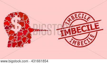 Scratched Imbecile Stamp Seal, And Red Love Heart Mosaic For Financial Liar. Red Round Seal Includes
