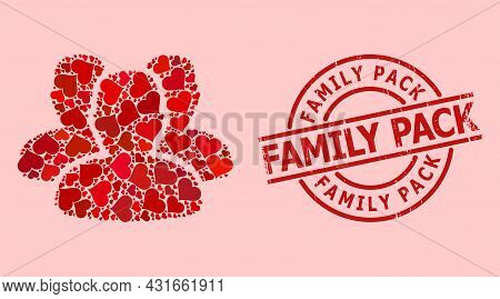 Textured Family Pack Badge, And Red Love Heart Collage For People. Red Round Badge Has Family Pack T