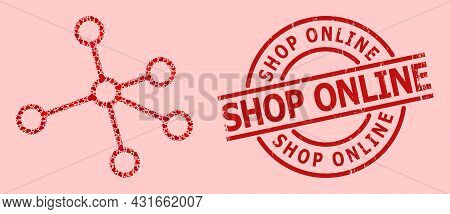 Rubber Shop Online Stamp, And Red Love Heart Collage For Links. Red Round Stamp Seal Has Shop Online