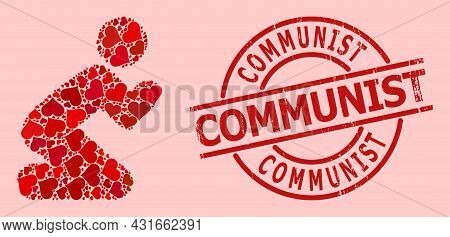 Textured Communist Badge, And Red Love Heart Mosaic For Praying Man. Red Round Badge Includes Commun