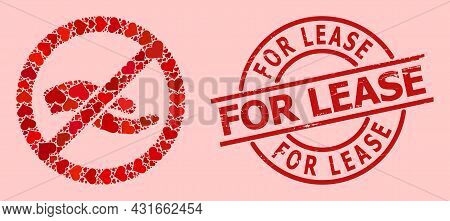Scratched For Lease Seal, And Red Love Heart Mosaic For Forbid Asking Hand. Red Round Stamp Seal Con