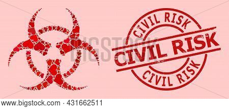 Grunge Civil Risk Stamp Seal, And Red Love Heart Pattern For Biohazard. Red Round Stamp Seal Include