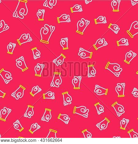 Line Medical Rubber Gloves Icon Isolated Seamless Pattern On Red Background. Protective Rubber Glove
