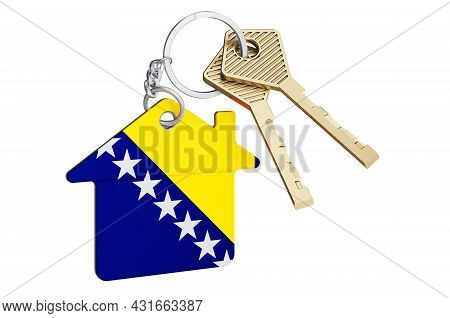 Real Estate In Bosnia And Herzegovina. Home Keychain With Bosnian Flag. Property, Rent Or Mortgage C