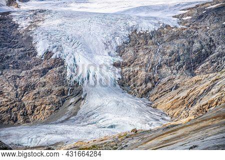 Mountain Glacier In Alpine Valley. Schlaten Glacier, German: Schlatenkees, Hohe Tauern National Park