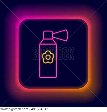 Glowing Neon Line Air Freshener Spray Bottle Icon Isolated On Black Background. Air Freshener Aeroso