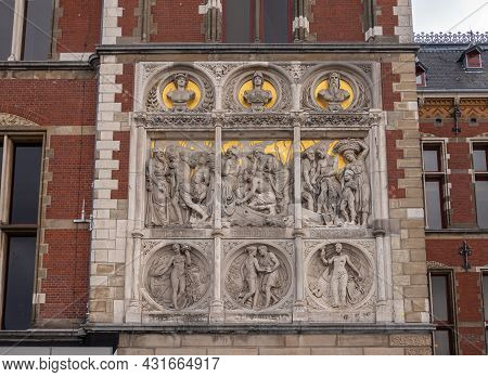 Amsterdam, Netherlands - August 14, 2021: Closeup Of Fresco Composition On Right Side Of Centraal Ra