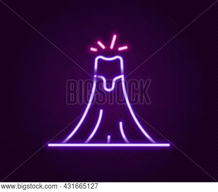 Glowing Neon Line Volcano Eruption With Lava Icon Isolated On Black Background. Colorful Outline Con