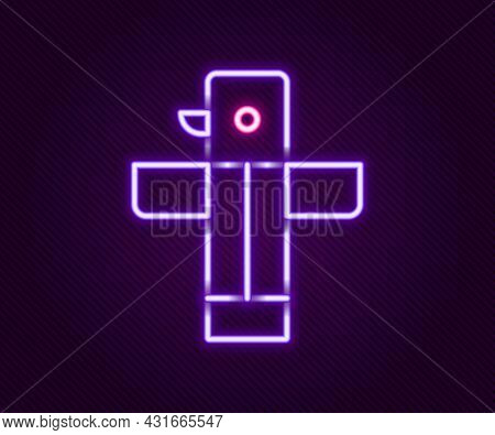Glowing Neon Line Canadian Totem Pole Icon Isolated On Black Background. Colorful Outline Concept. V