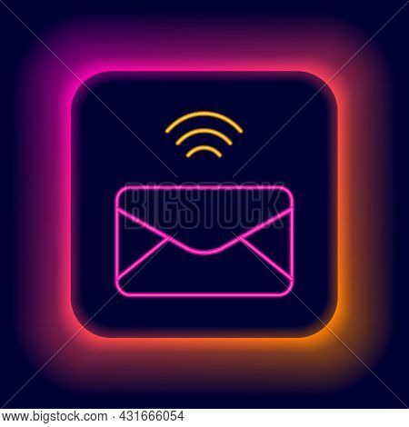 Glowing Neon Line Mail And E-mail Icon Isolated On Black Background. Envelope Symbol E-mail. Email M