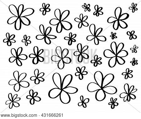 Set Of Simple Hand Drawn Black Ink Outline Flower Doodles Isolated On White Background. Naive Chlldi