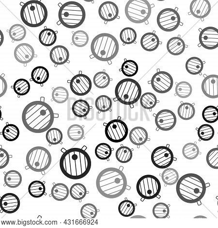 Black Wooden Barrel Icon Isolated Seamless Pattern On White Background. Alcohol Barrel, Drink Contai