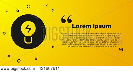 Black Light Bulb With Concept Of Idea Icon Isolated On Yellow Background. Energy And Idea Symbol. In