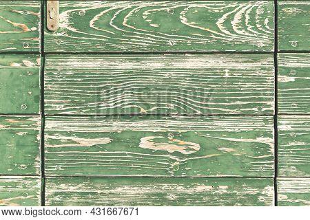 Old Green Shabby Wooden Door Background, Texture.