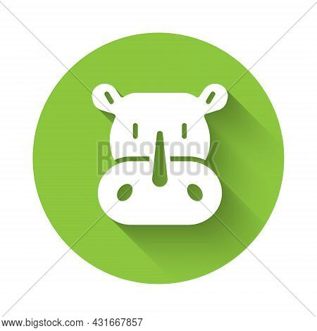 White Rhinoceros Icon Isolated With Long Shadow Background. Animal Symbol. Green Circle Button. Vect