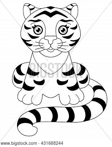 Tiger - For A Coloring Book. Little Cute Tiger Cub With A Long Tail Sits - Vector Linear Illustratio