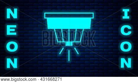 Glowing Neon Smoke Alarm System Icon Isolated On Brick Wall Background. Smoke Detector. Vector